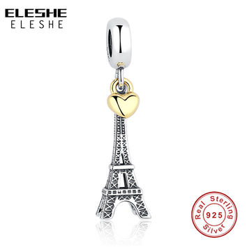 925 Sterling Silver PARIS EIFFEL TOWER PENDANT CHARM with Gold Heart Charm fit Original Pandora Bracelet DIY Jewelry Accessories