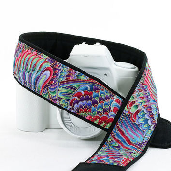 Psychedelic Rainbow dSLR Camera Strap, Pink, Aqua, Green, Violet, Gold, Pocket, SLR, Canon camera strap, Nikon camera strap, 89 w