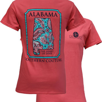 Southern Couture Alabama  Preppy Paisley State Pattern Heart of Dixie Coral T Shirt