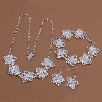 S450 silver jewelry set,Nickle free antiallergic rose flower bracelet necklace earrings jewelry set boucle d'oreille
