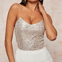 V-Neck Lining Sequin Cami Top Sexy Spaghetti Strap Vest Sleeveless Ladies Glamorous Tops