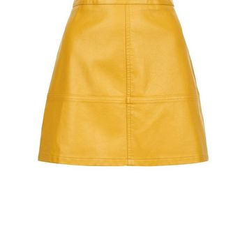 Petite Yellow Leather-Look Mini Skirt | New Look