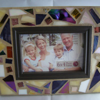 Purple, Yellow & White Stained Glass Frame, Mosaic Frame, 4x6 Frame, Home Decor, Photo Frame