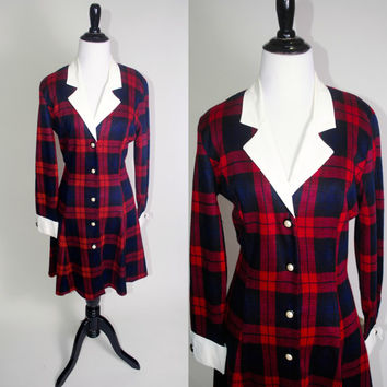 Vintage 1990s Red Black PLAID button down fitted waist Full Skirt long sleeve Collared preppy Clueless Style Tie Back Dress