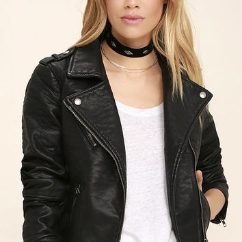 Glamorous Music of the Night Black Vegan Leather Moto Jacket