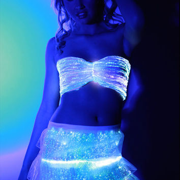 Fiber Optic Ruffle Skirt with color changing lights with remote for EDC, Tomorrowworld, Ultra, Festival, Rave