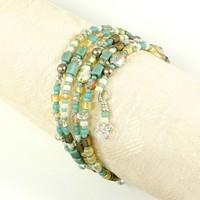 Handmade Bead Bracelet Memory Wire Wrap Beige Blue Yellow Glass