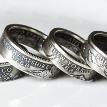 US State Quarter Rings - Handcrafted, Custom Order, Sizes 5-12