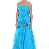 Beautifly Women's Strapless Blue Organza Floral Lace-up Mermaid Gown