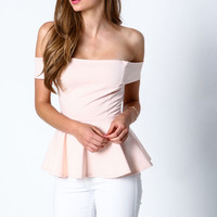 Blush Off Shoulder Peplum Top - LoveCulture