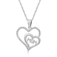 Sterling Silver Mom in Heart Diamond Pendant-Necklace on an 18 inch chain