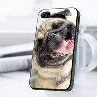 Smile Pug Dog iPhone 4 Or 4S Case