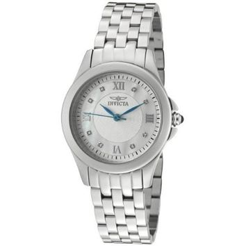 Invicta Women's 10677 Wildflower Diamond Accented Silver and MOP Dial Stainless Steel Watch