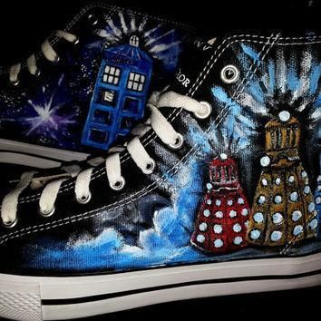 doctor who shoes handpainted men s size 10 converse daleks tardis