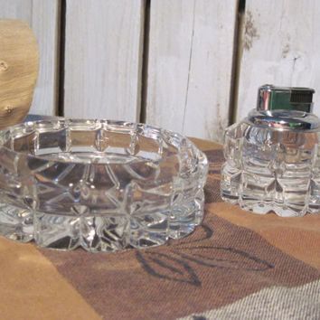 Vintage Leaded Crystal Mikasa Ashtray and Lighter, Set