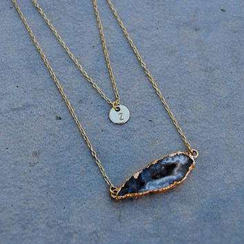 SHOP SALE - Geode Agate Slice 24k Gold Plated Necklace