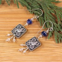 Silver Bird Flower Earrings Swarovski Cobalt Blue Czech Glass Beads