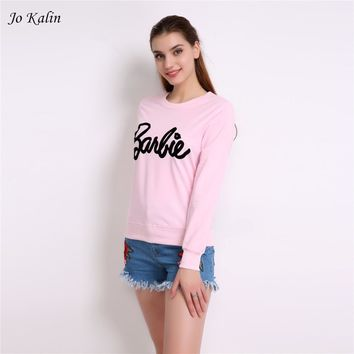 Jo Kalin 2017 New Fashion Spring Autumn Women Barbie Letter Printed Kawaii Hoodies Women's Sweatshirt Pink Red Pullovers