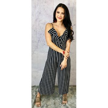 For the Love of Striped Black Striped Jumpsuit