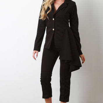 Asymmetrical Side Peplum Blazer with Crop Pants | UrbanOG