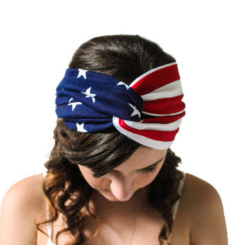 American Flag Turban Headband 4th of July Independence Day