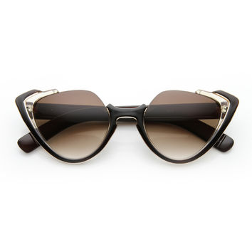 Womens Unique Heart Shape Half Frame Cat Eye Sunglasses 9616