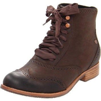 Sebago Womens Claremont Leather Wingtip Ankle Boots