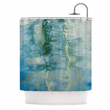 "Malia Shields ""Fluidity Series #2"" Green Teal Shower Curtain"