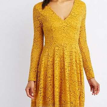 Lace V-Neck Skater Dress | Charlotte Russe