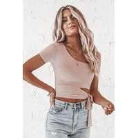 Over And Out One Shoulder Mauve Tie Top