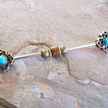 Tribal Turquoise Gold Industrial Barbell Scaffold Piercing