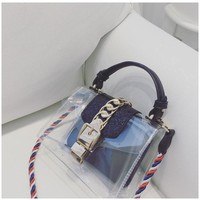 Features new European and American fashion lock bag handbag simple shoulder bag color rope transparent package