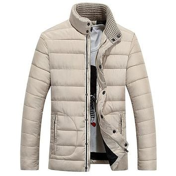 Winter Casual Thicken Knitted Stand Collar Puffer Jacket for Men