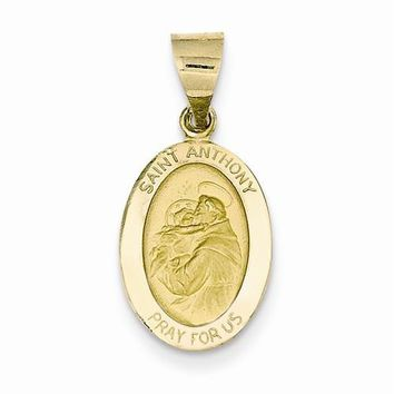 14k Gold Polished and Satin St. Anthony Medal pendant