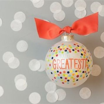 Coton Colors Painted Christmas Ornaments. Stylishly Express Your Appreciation with the You?re the Greatest Bright Confetti Ornament. Embellished with Playful Pops of Color and Dynamic Dots, This Ornament Makes a Posh Yet Personal Gift for Birthdays, Holida