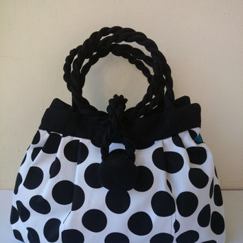 Large purse with back dots on white, cotton satin, hand or shoulder bag, fashion dress making and casual chic, hand made in France