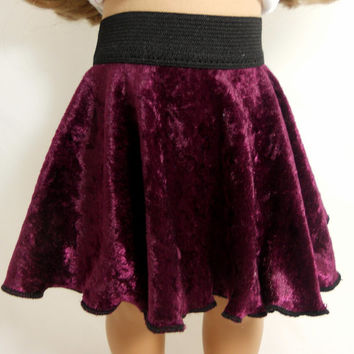 "18"" Doll Velvet Skirt, Skater Skirt, Wine or Burgundy Color Available in other colors"