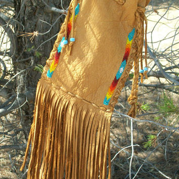 ON SALE Beaded drawstring pouch , Fringed buckskin cedar bag , Fringed leather wrist bag , Fringed medicine bag