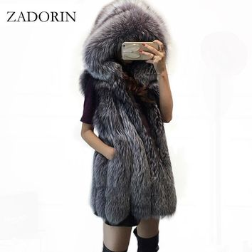 Plus Size Pelzweste 2016 Fashion FAUX Fox Fur Vest with Fur Cape Thick Warm Female Outerwear Faux Fur Coat Mex Chaquetas Mujer