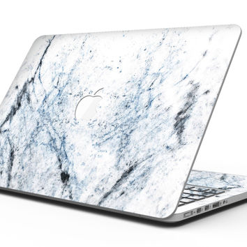 Blue and Black Grunge Over White Marble Surface - MacBook Pro with Retina Display Full-Coverage Skin Kit
