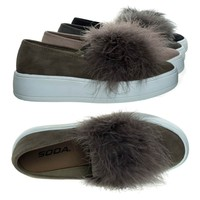 Hestia Taupe By Soda, Faux Fur Pom Round Toe Slip On Fashion Sneaker.