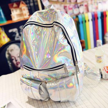 Hot Sale Women Silver Hologram Laser Backpack For Teenage Girls Fashion Shoulder Bags School Bookbags Mochila Masculina Backpack