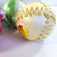Vintage Hand Painted West German Glass Christams Ornaments, Set of 5 made for S.S. Kresge Company