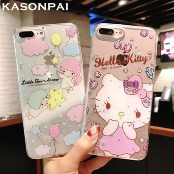 KASONPA Bling Cartoon Hello Kitty Phone Cases for iphone 7 7Plus Cute Little Twin Stars Soft Case For iphone X 6 6s 8 plus Cover