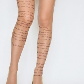 """EMILY DICKINSON """"Hope"""" Poem Printed Tights, Moka Brown Poetry Trend Tights, Hope is the thing with feathers"""