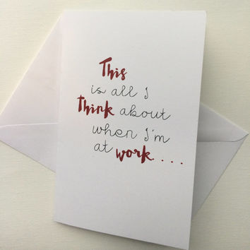 Valentine 5x7 Card with white envelope, mirrored love card, anniversary card, thinking of you at work, unique white red hip engagement card