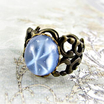 Star Sapphire Ring, Light Blue Ring, Blue Glass Ring, CZECH Glass Ring, Antiqued Brass Filigree Adjustable Ring, Upcycled Vintage Jewelry