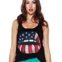 Papaya Clothing Online :: AMERICAN FLAG LIP RACER TANK