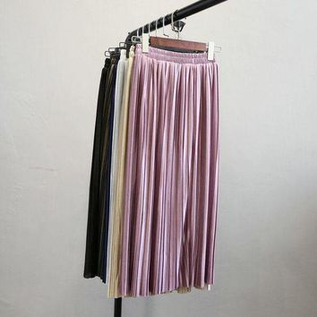 PEAPYV3 Alphalmoda New Arrival Women Pleated Midi Skirts Elastic Waist Solid Color Shining Fashion Satin Skirts in 6colors