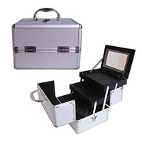 """BerucciTM Professional Silver 10"""" Lightweight Aluminum Makeup Artist Organizer Kit with 2 Extendable Trays, Aluminum Trimming, Lock and Keys, and Mirror, and Shoulder Strap"""